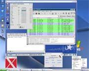 Windows desktop, Xming in one window mode.