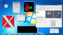 Windows desktop, Xming in -multiwindow mode.
